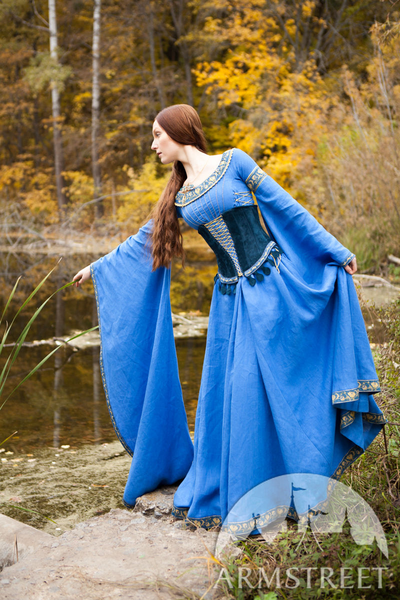 Medieval Linen Dress And Suede Bodice Quot Lady Of The Lake