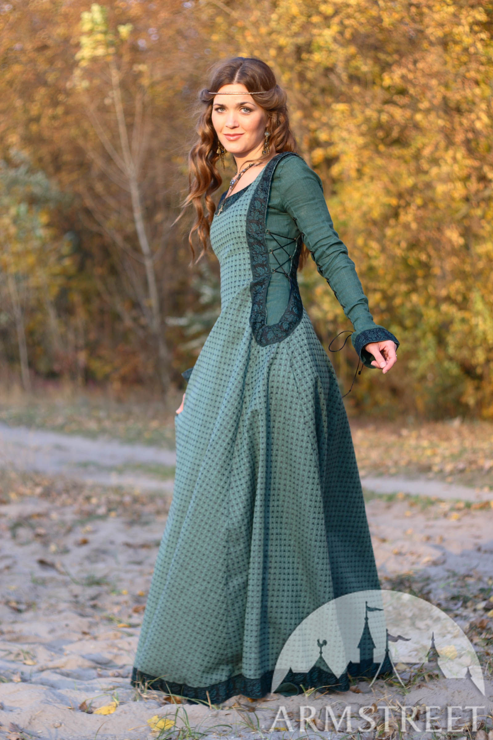 medieval natural flax lined dress with surcoat and chaperone autumn princess for sale. Black Bedroom Furniture Sets. Home Design Ideas