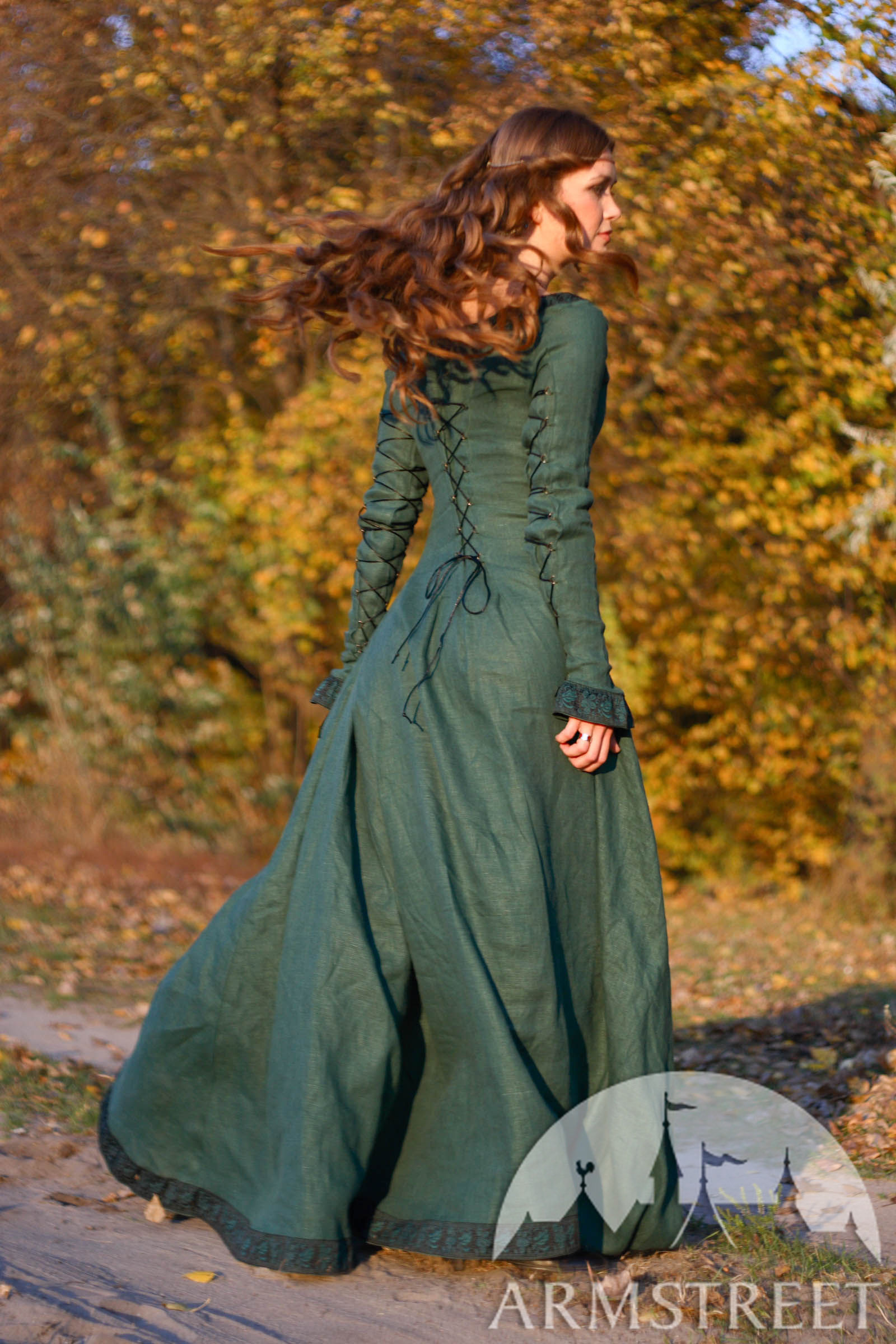 Medieval Natural Flax Lined Dress With Surcoat And