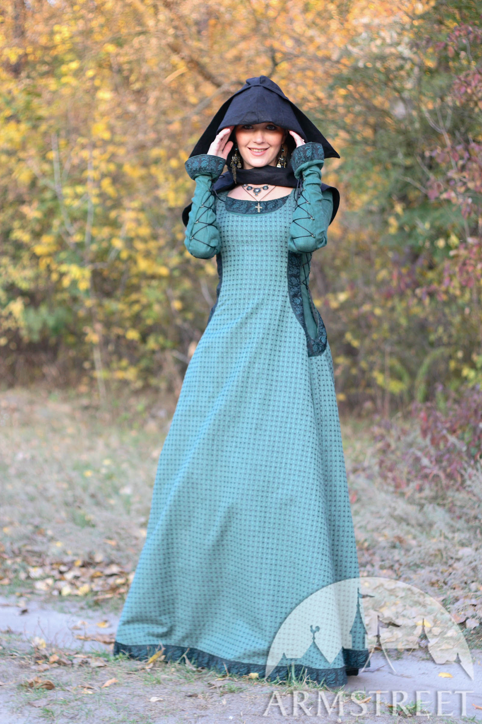 Medieval natural flax lined dress with surcoat and chaperone