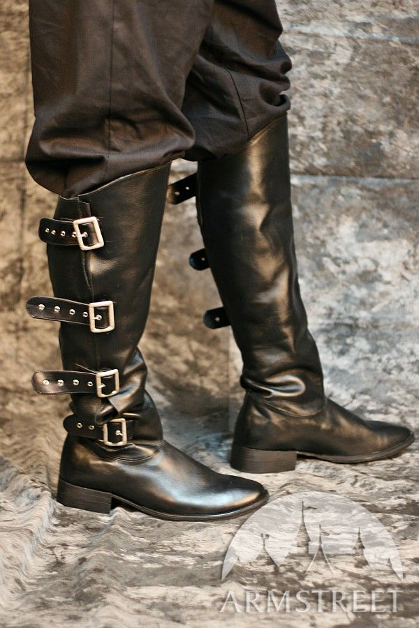 Handmade Medieval High Leather Boots With Clasps Pirate