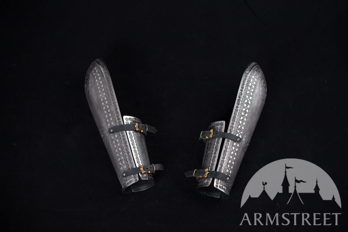 Bracers Bazubands etched stainless steel armour