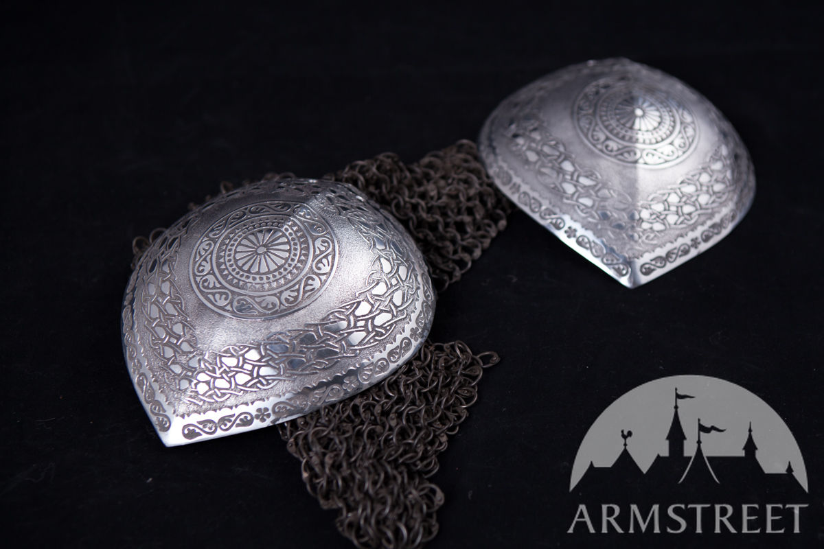 Etched stainless steel armor pauldrons