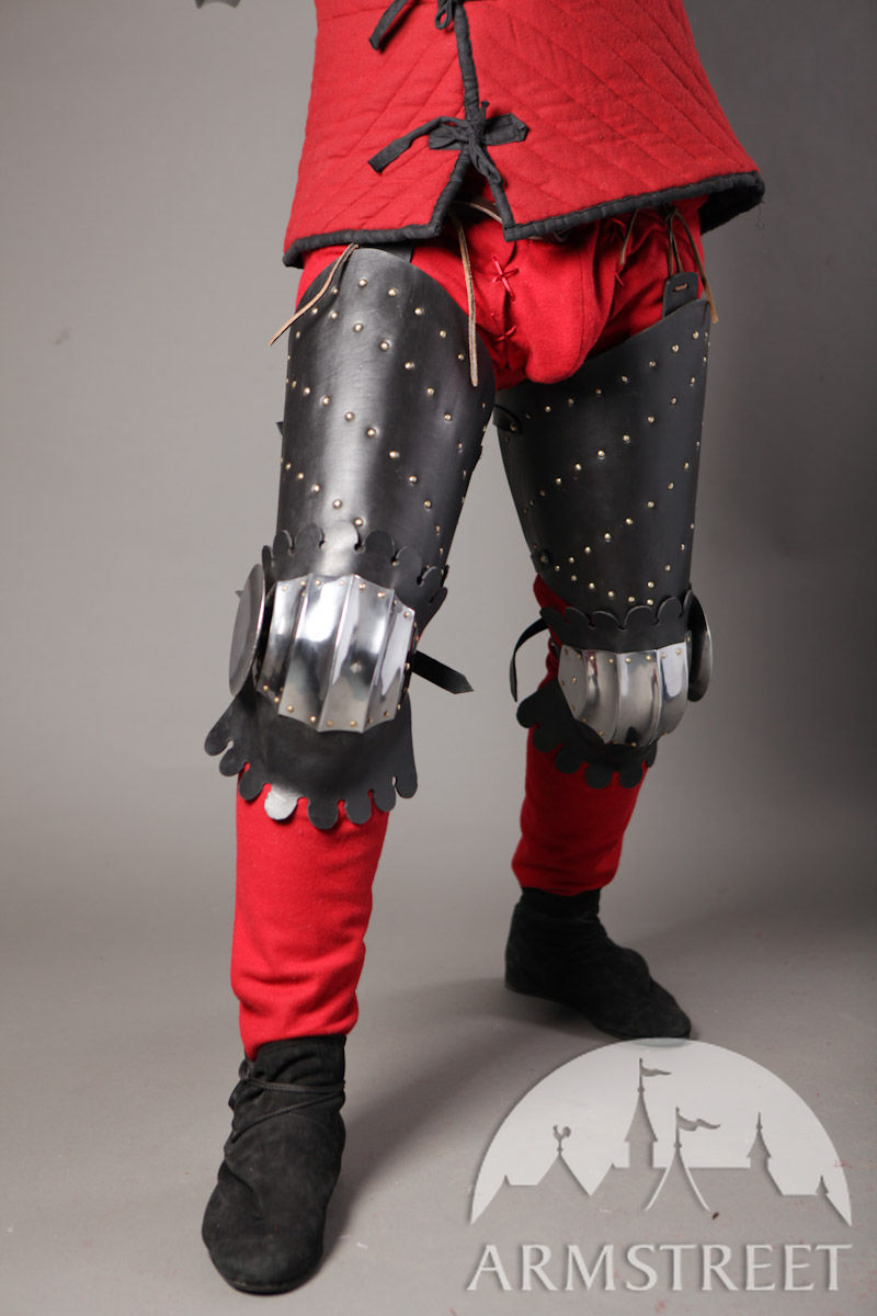 Medieval Splinted Armor Legs With Fluted Poleyns For Sale