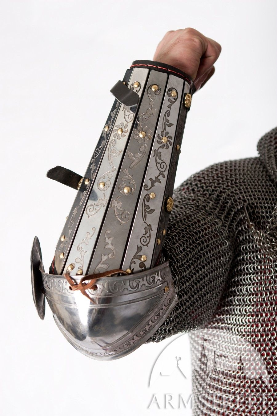 Medieval sca armor bracers splinted with elbow cops and etching on it
