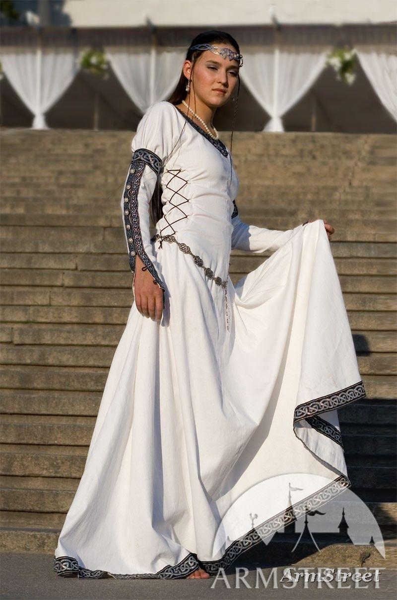 White Medieval Renaissance Costume Chess Queen Dress