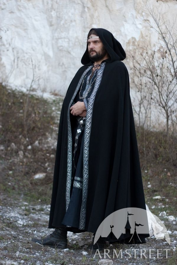 Medieval Wool Black Cloak With Original Celtic Trim For