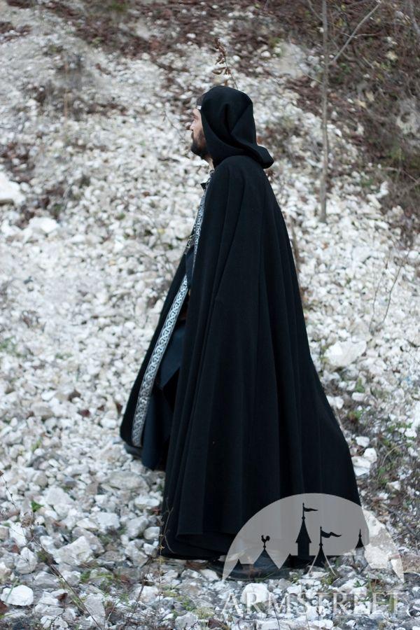 Medieval Wool Black Cloak With Original Celtic Trim For