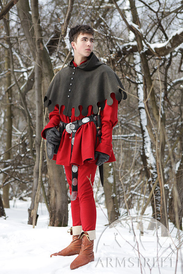 medieval mens costume coat tappert cotta coat and hood