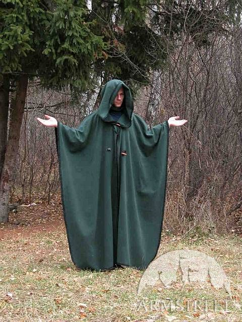 Magic pure woolen medieval cloak robe with handmade ...