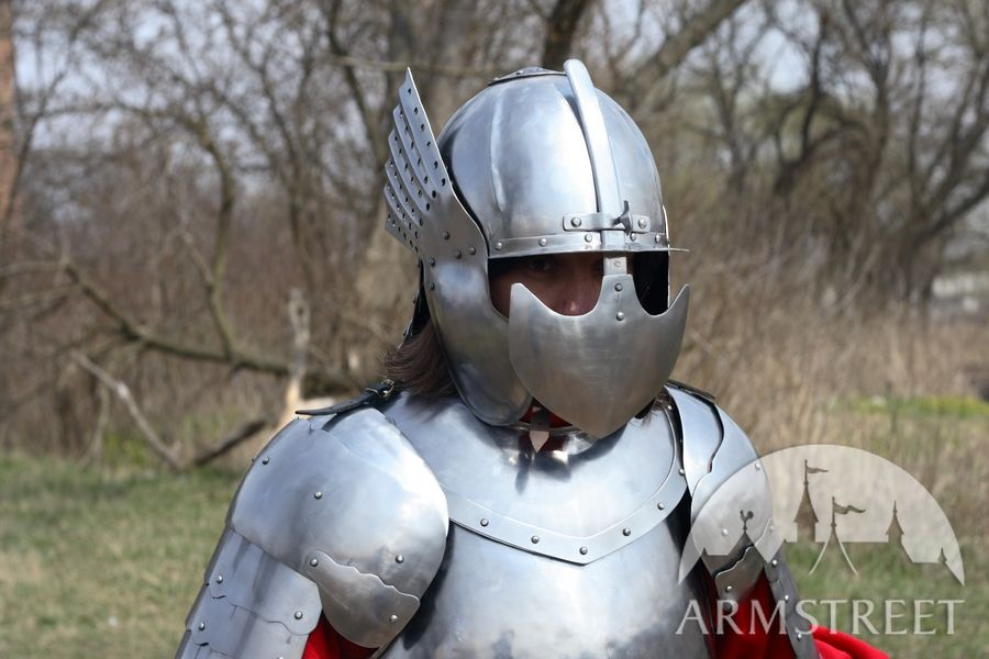 Hussar medieval armor - Polish hussar historically accurate armour set -  winged helmet with closed