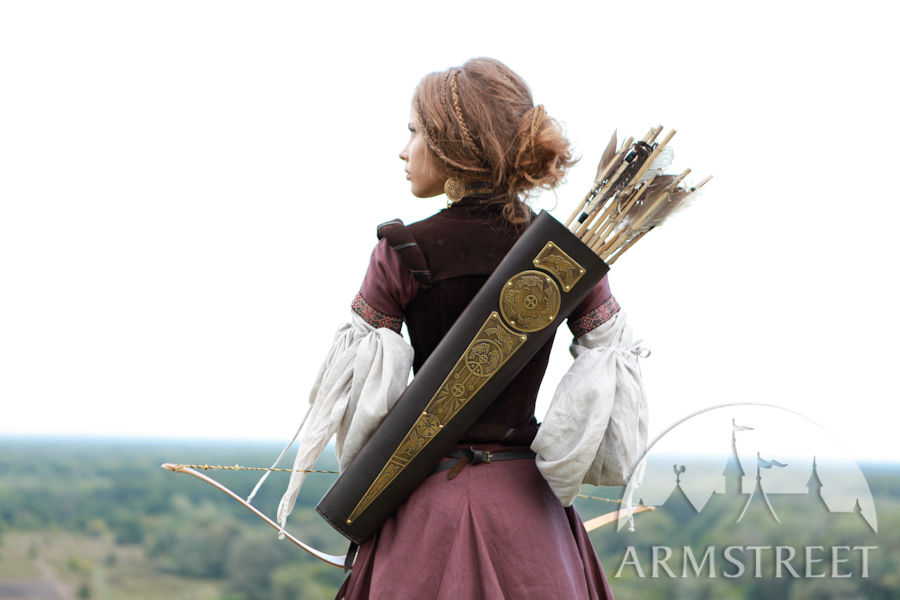 Womens leather gloves australia - Fantasy Medieval Style Leather And Brass Quiver For Sale By