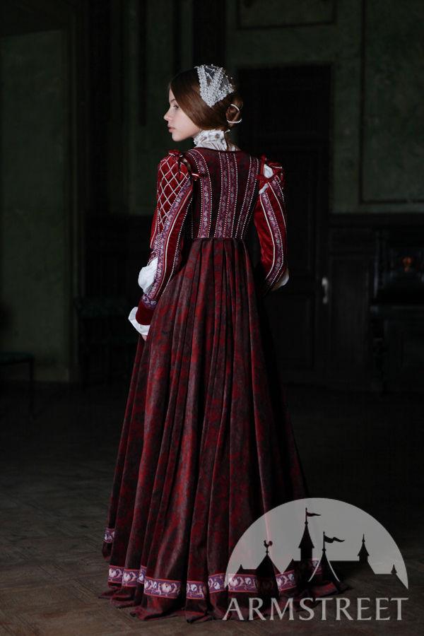 renaissance dress florentine natural flocked velvet