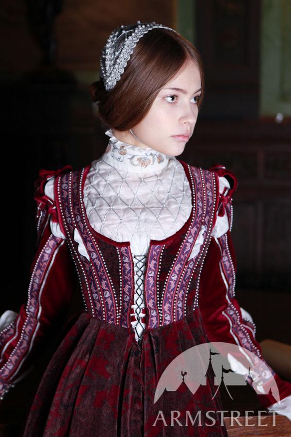 "Renaissance Dress Florentine Natural Flocked Velvet ""Beautiful Ginevra"" for sale. Available in"