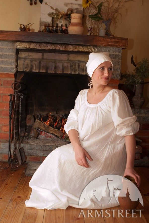 Renaissance style light flax-linen chemise dress garb costume for ...