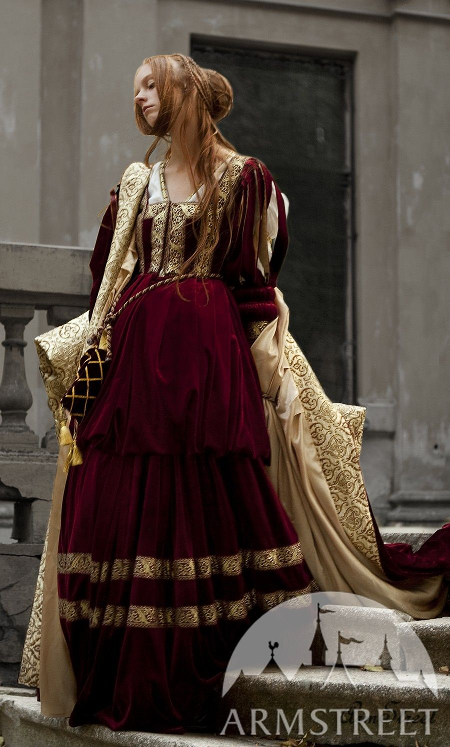 0cfa46537a8 Renaissance dress for Queen or Princess character garb for sale. Available  in  burgundy velvet    by medieval store ArmStreet