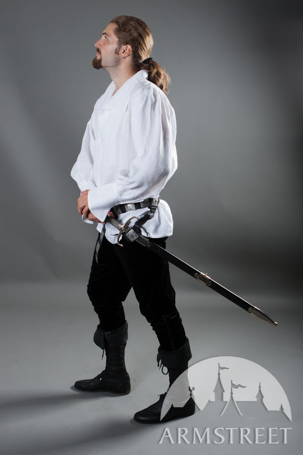 Renaissance Noble Medieval White Flax Shirt For Sale