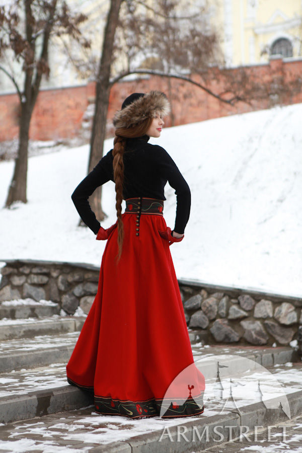 Wide long skirt made of dense wool with the high waistband for ...