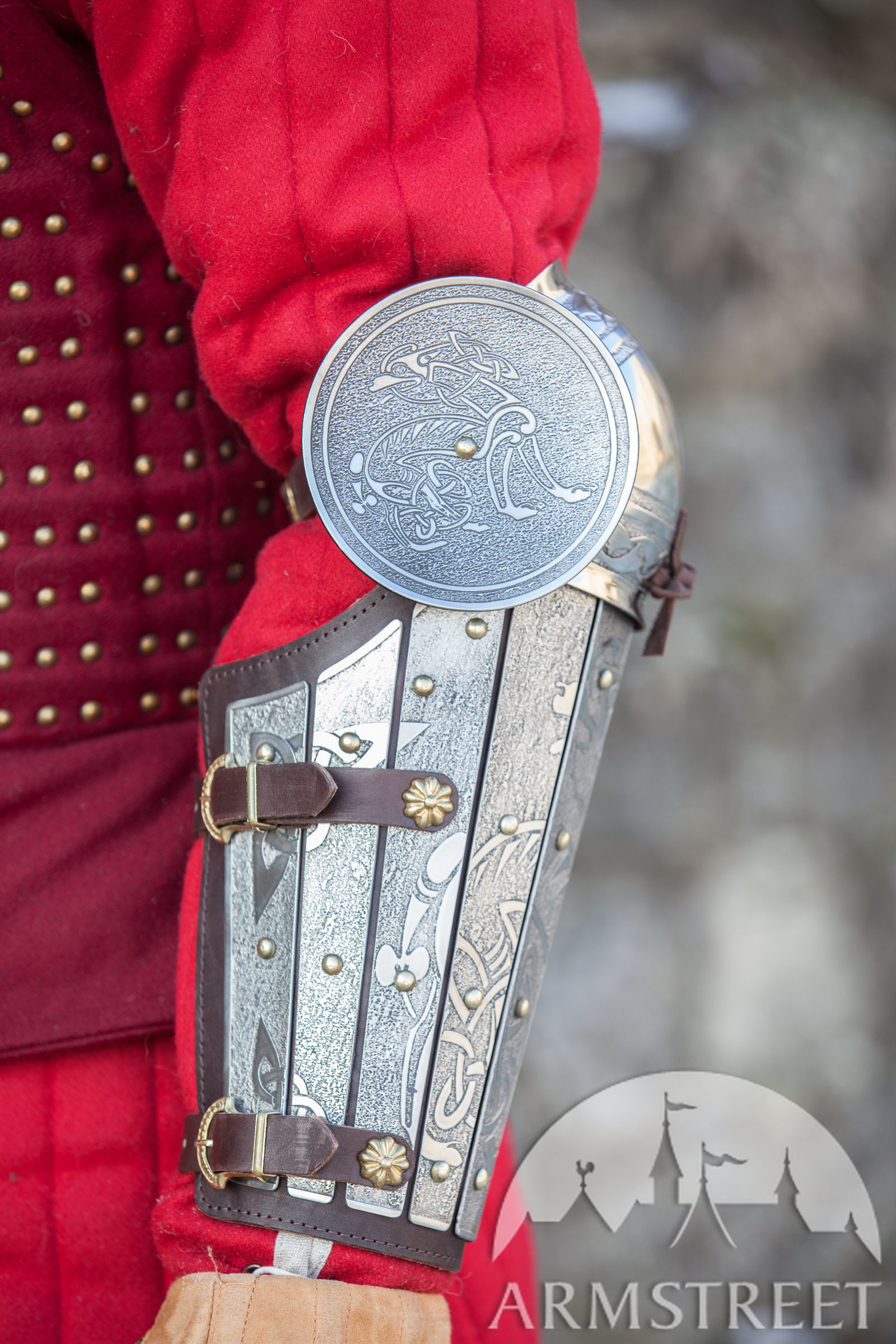 Medieval Sca Legal Splint Combat Armor Bracers With Elbow