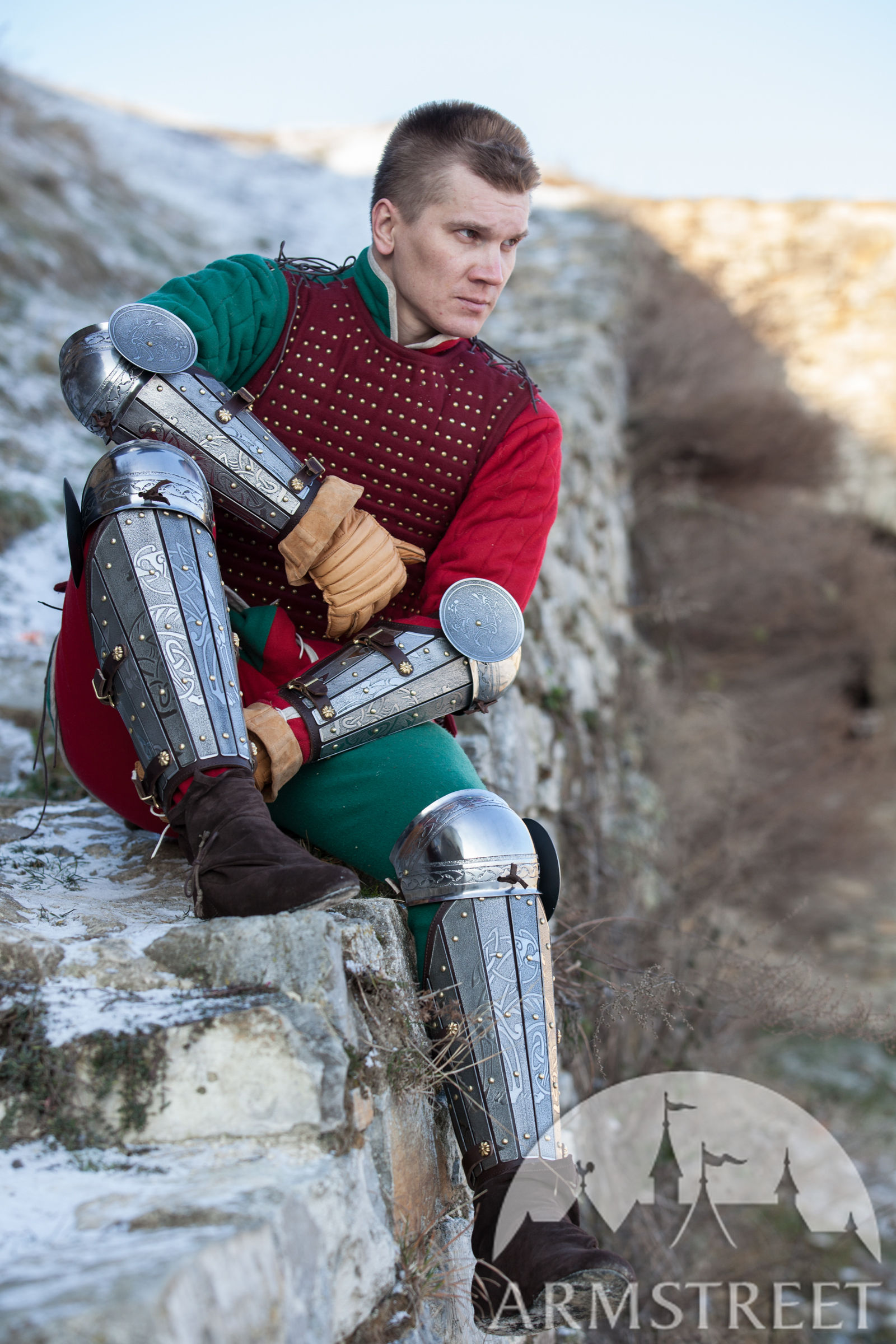 Medieval bracers splinted SCA bazubands arm armor with elbow cops