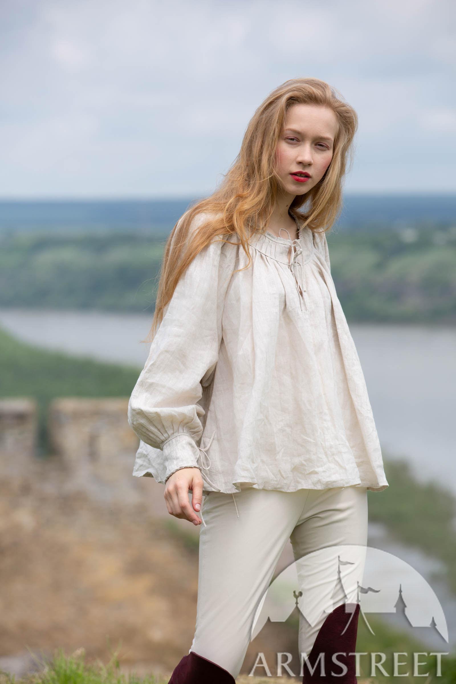 Short Medieval Linen Womens Shirt for sale Underwear