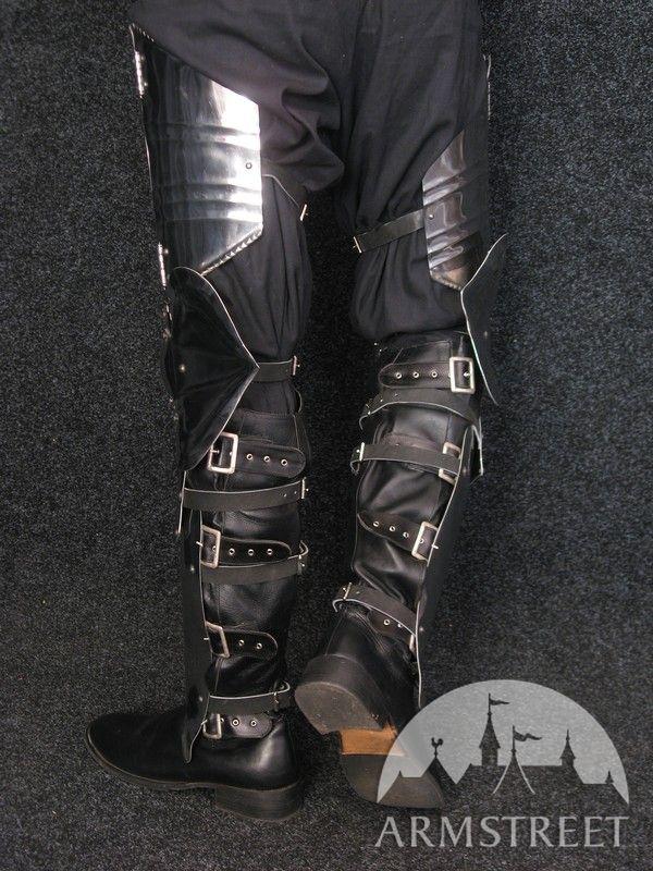 medieval full leg armor set poleyn greaves thigh plates
