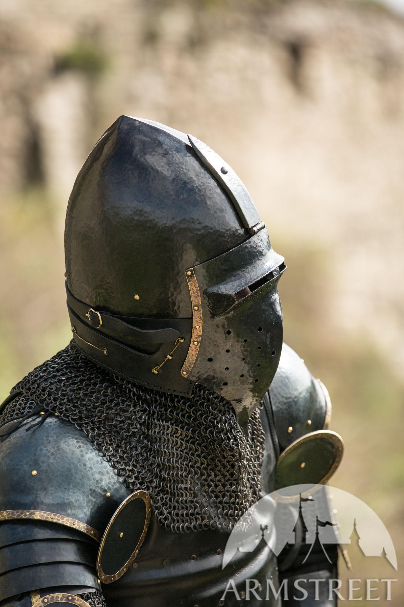 "Crowns For Sale >> Blackened Klappvisor Bascinet XIV century helmet with visor ""The Wayward Knight"" for sale ..."