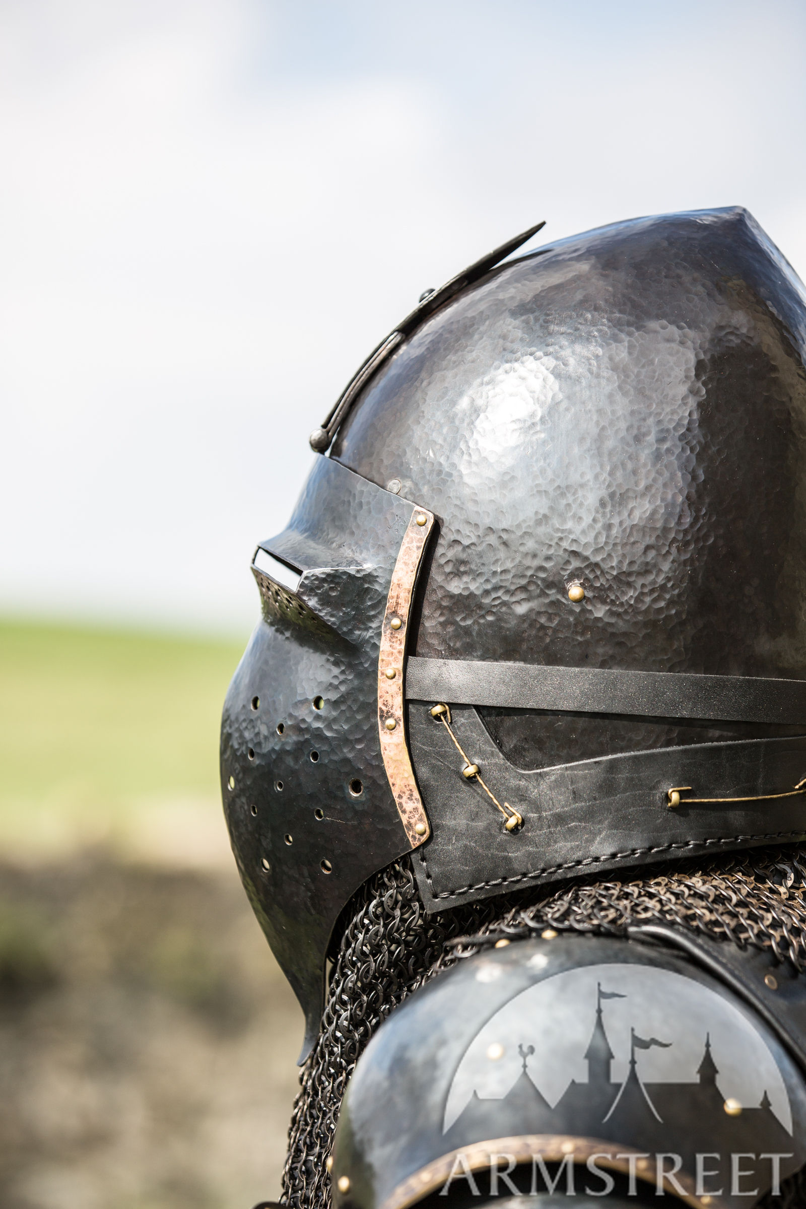 Blackened Klappvisor Bascinet Xiv Century Helmet With