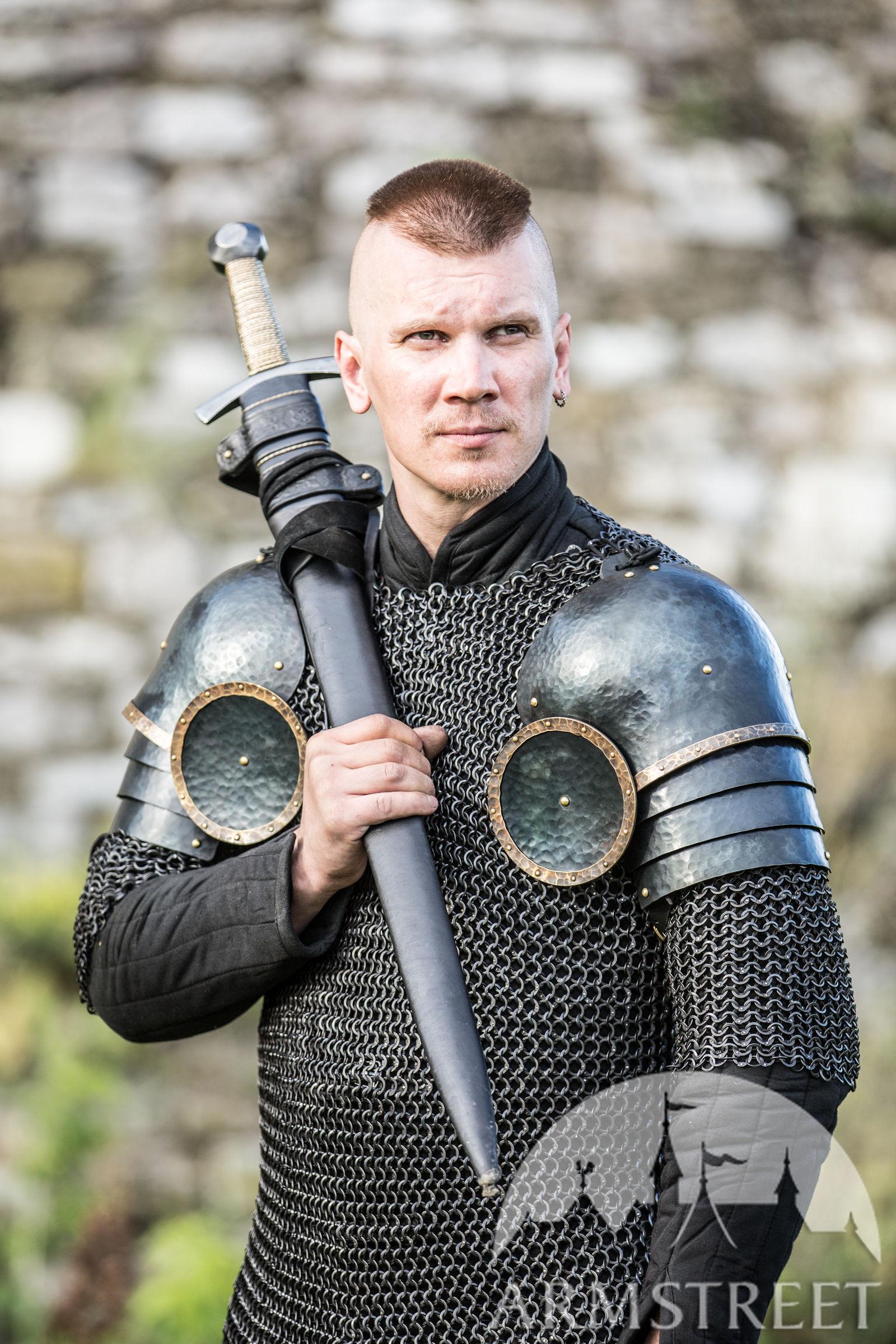 "XIV Century Style Blackened Pauldrons ""The Wayward Knight"
