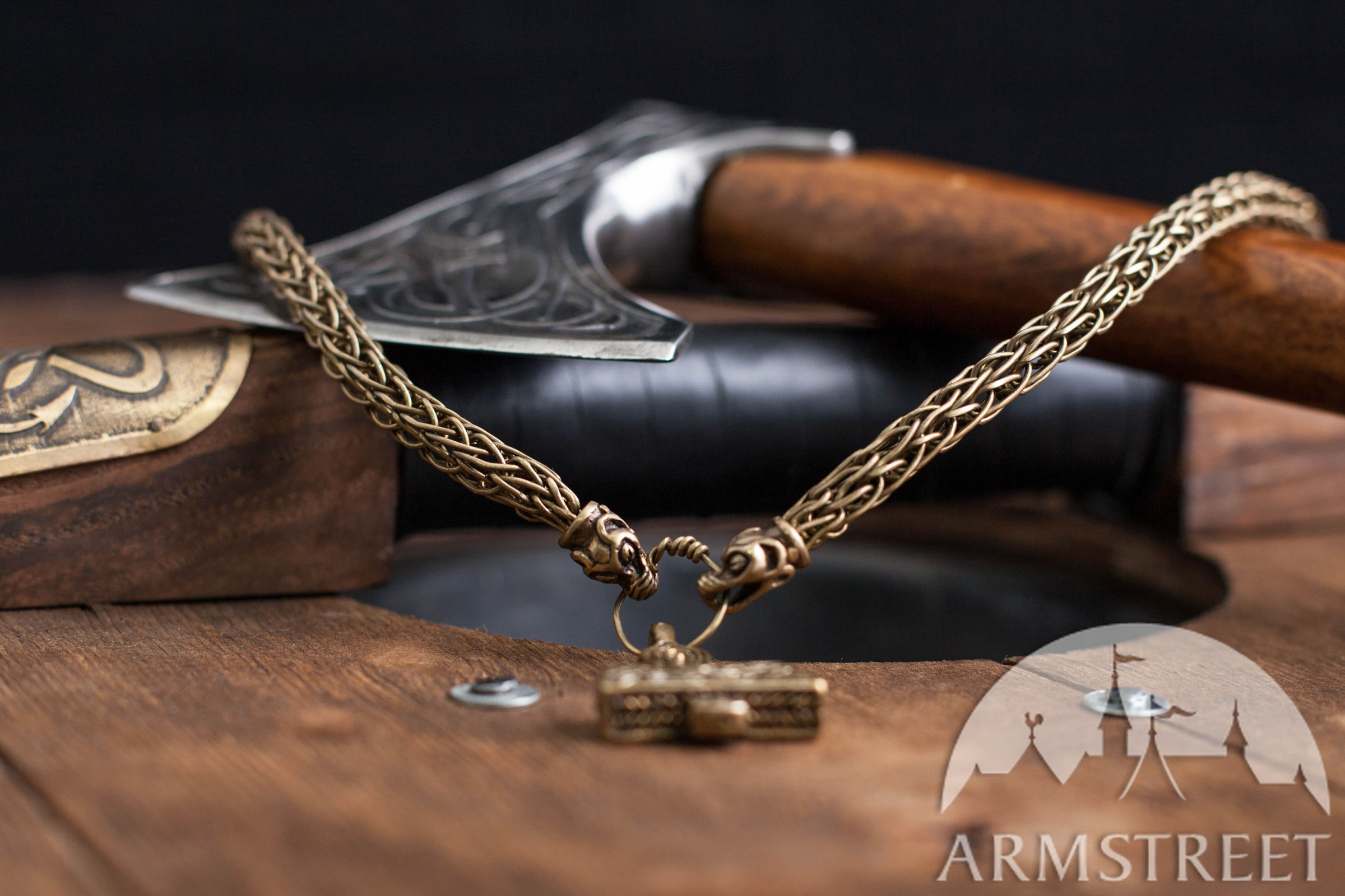 thor 39 s hammer viking neck chain available in brass by