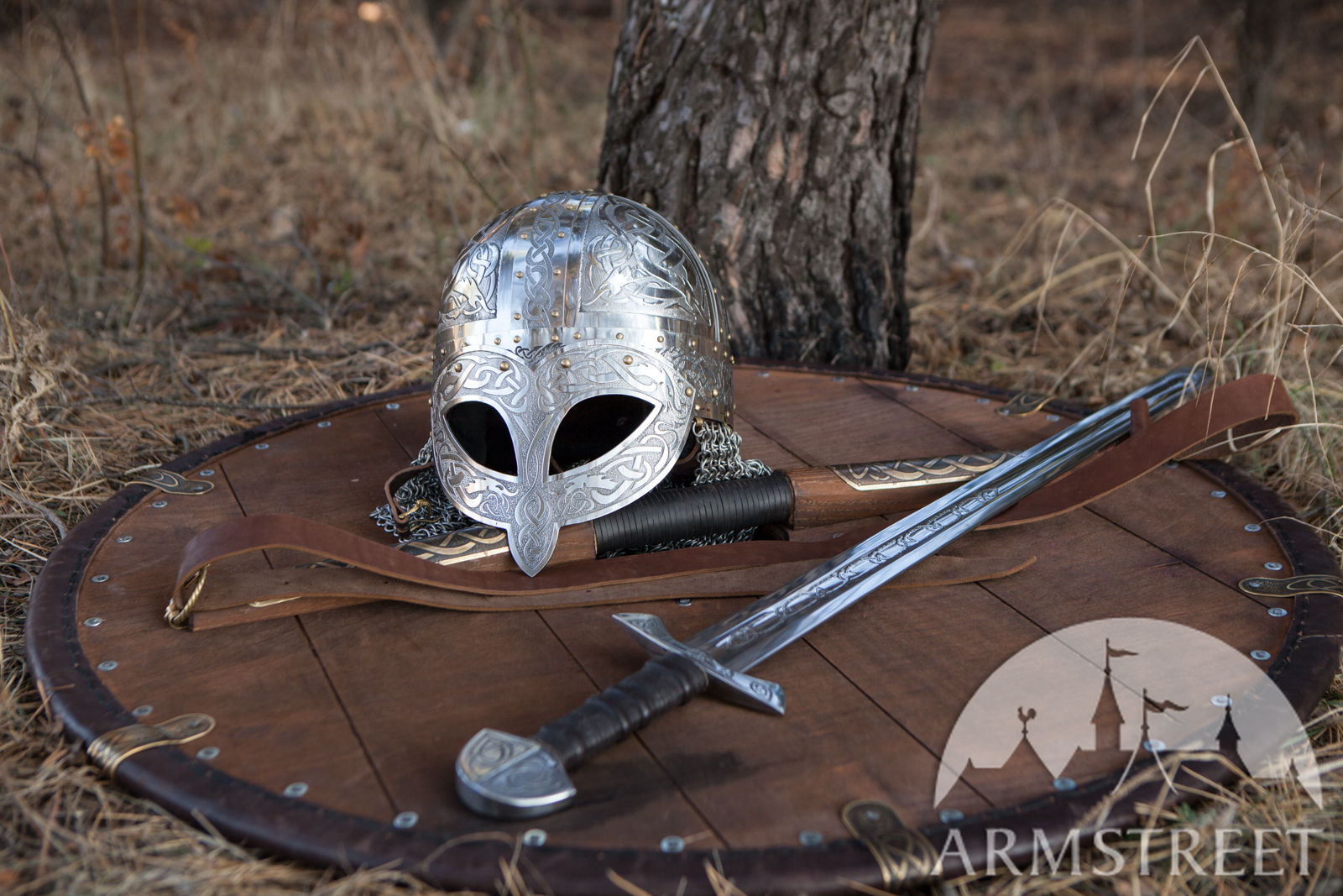 Viking's etched helmet, sword and shiled