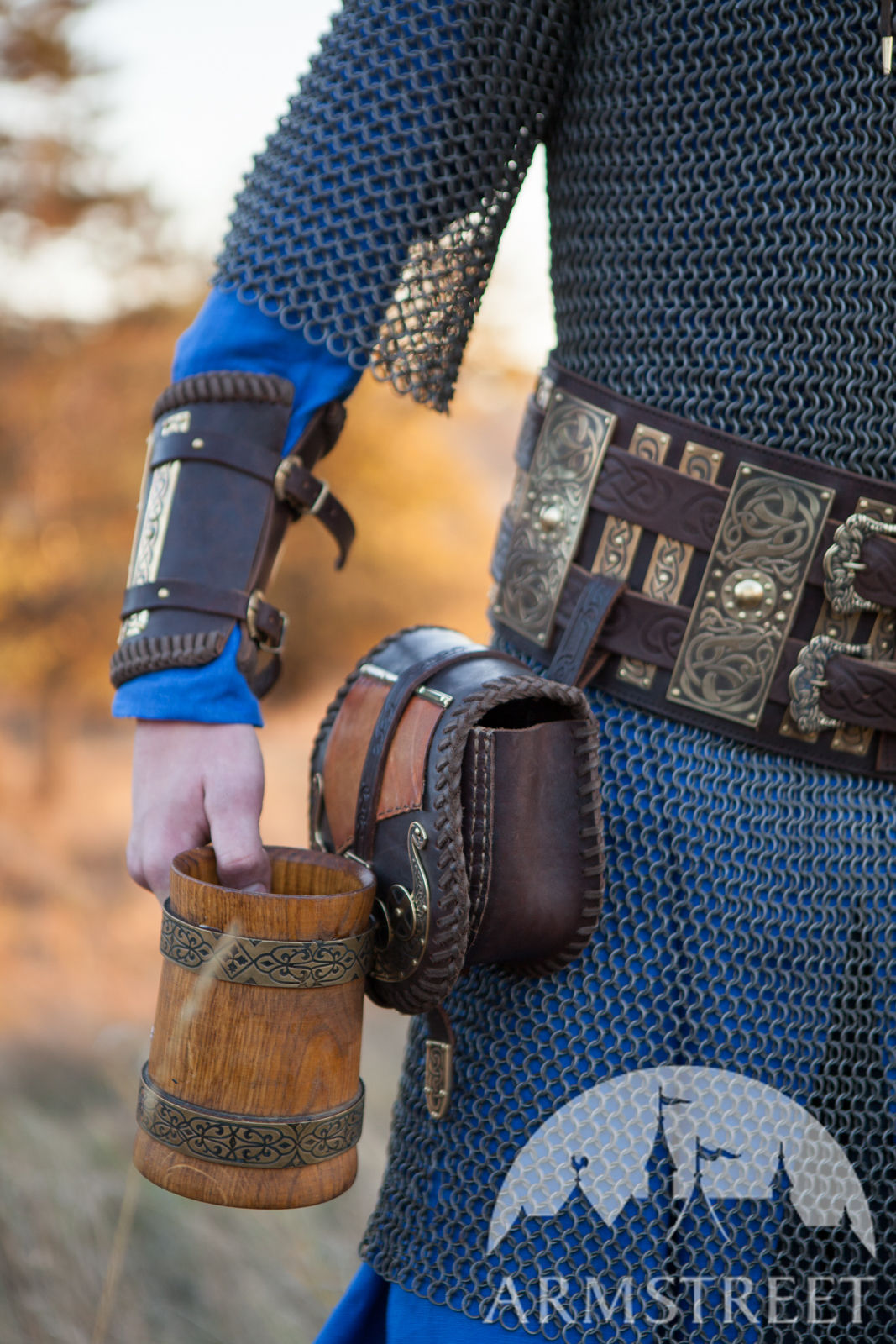 medieval vikings leather belt  brass accents