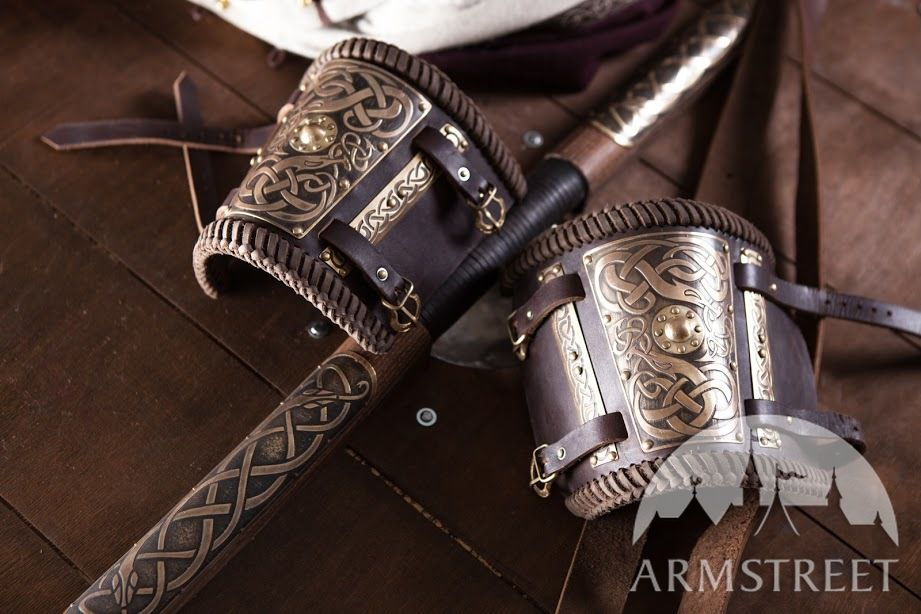 Brass and leather  bracers, shield and sheaths