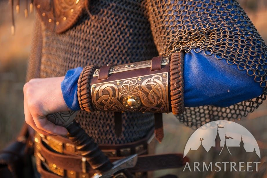 Viking Bracers With Etched Brass Accents Available In