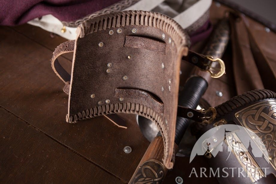 Medieval Viking Leather  bracers decorated with beautifully etched brass accents and shield boss shape decorations Viking armour