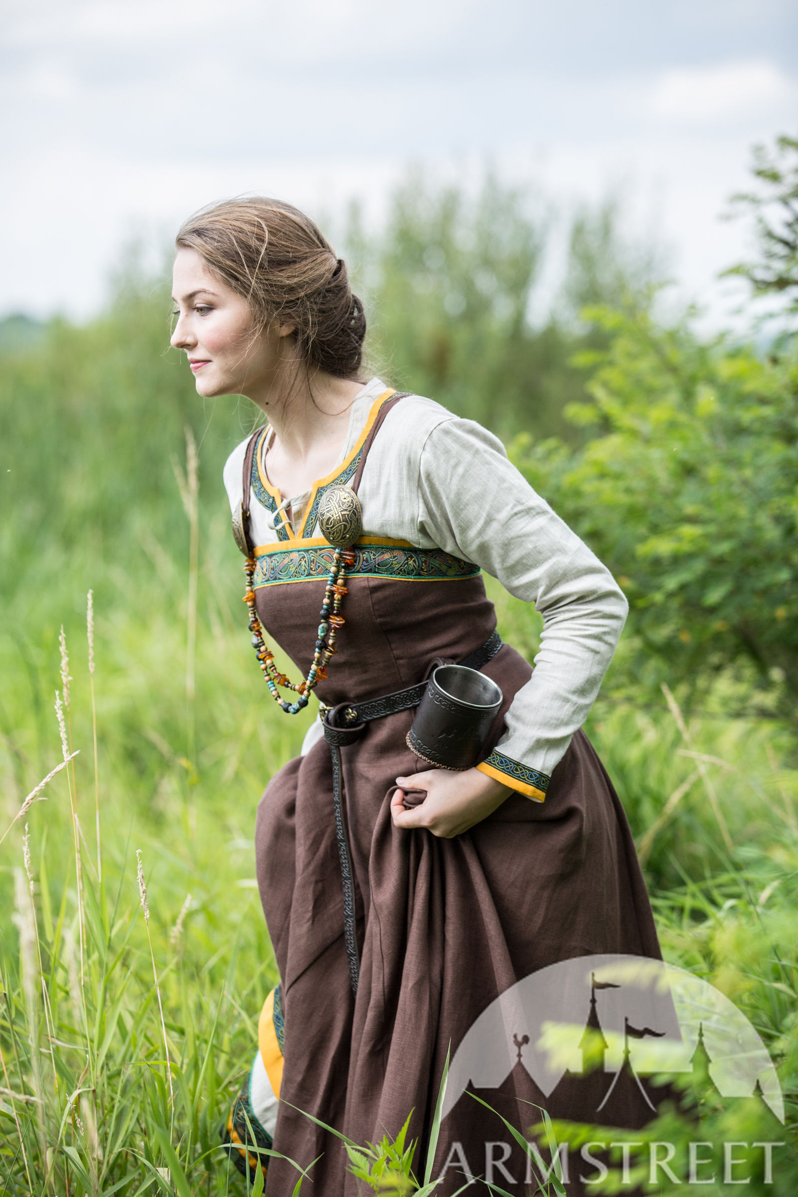 """Linen Viking Apron Garb """"Ingrid"""". Available in: green flax ... Ancient Vikings Clothing"""