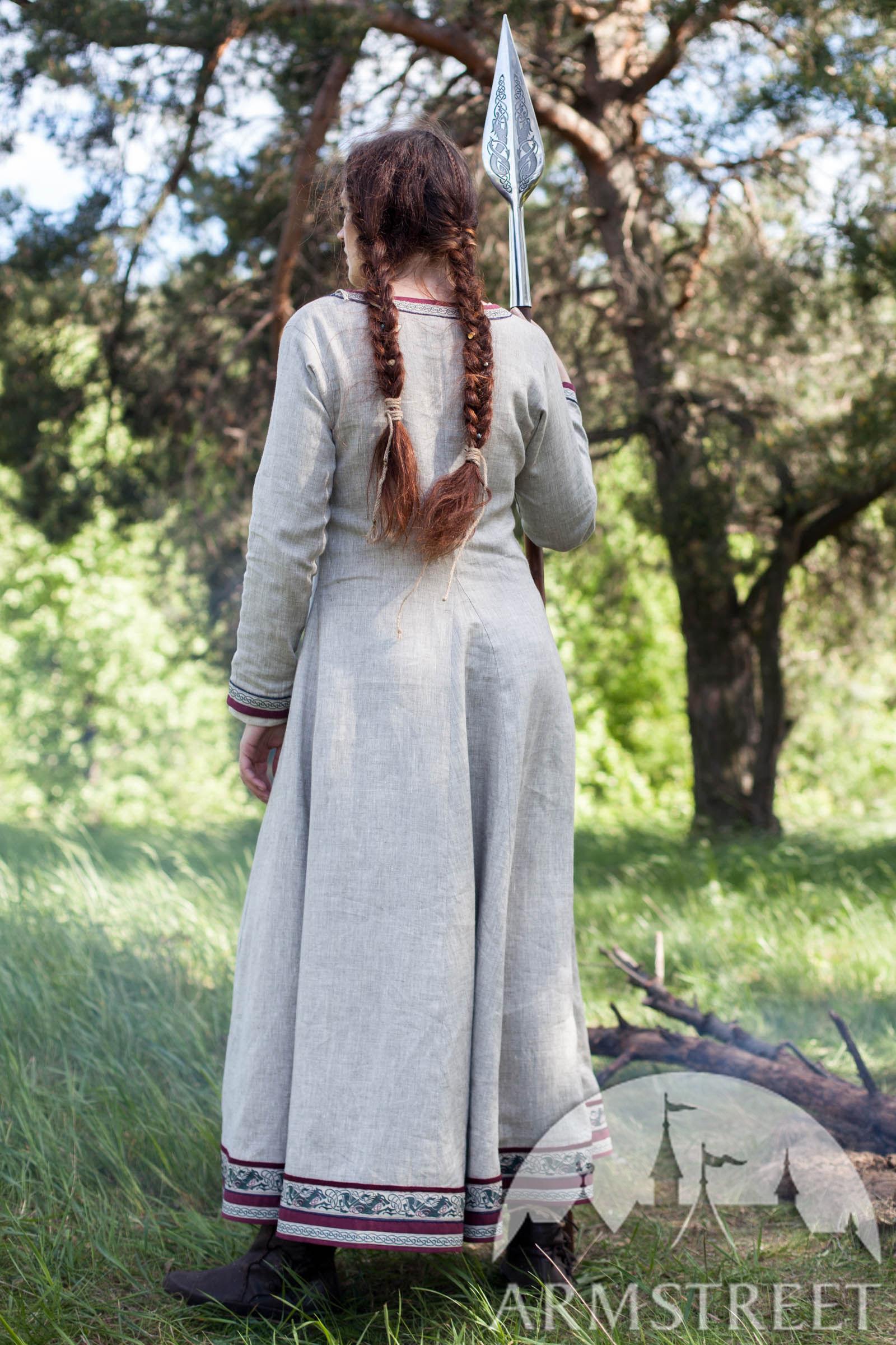 Viking Natural Linen Dress Eydis The Shieldmaiden