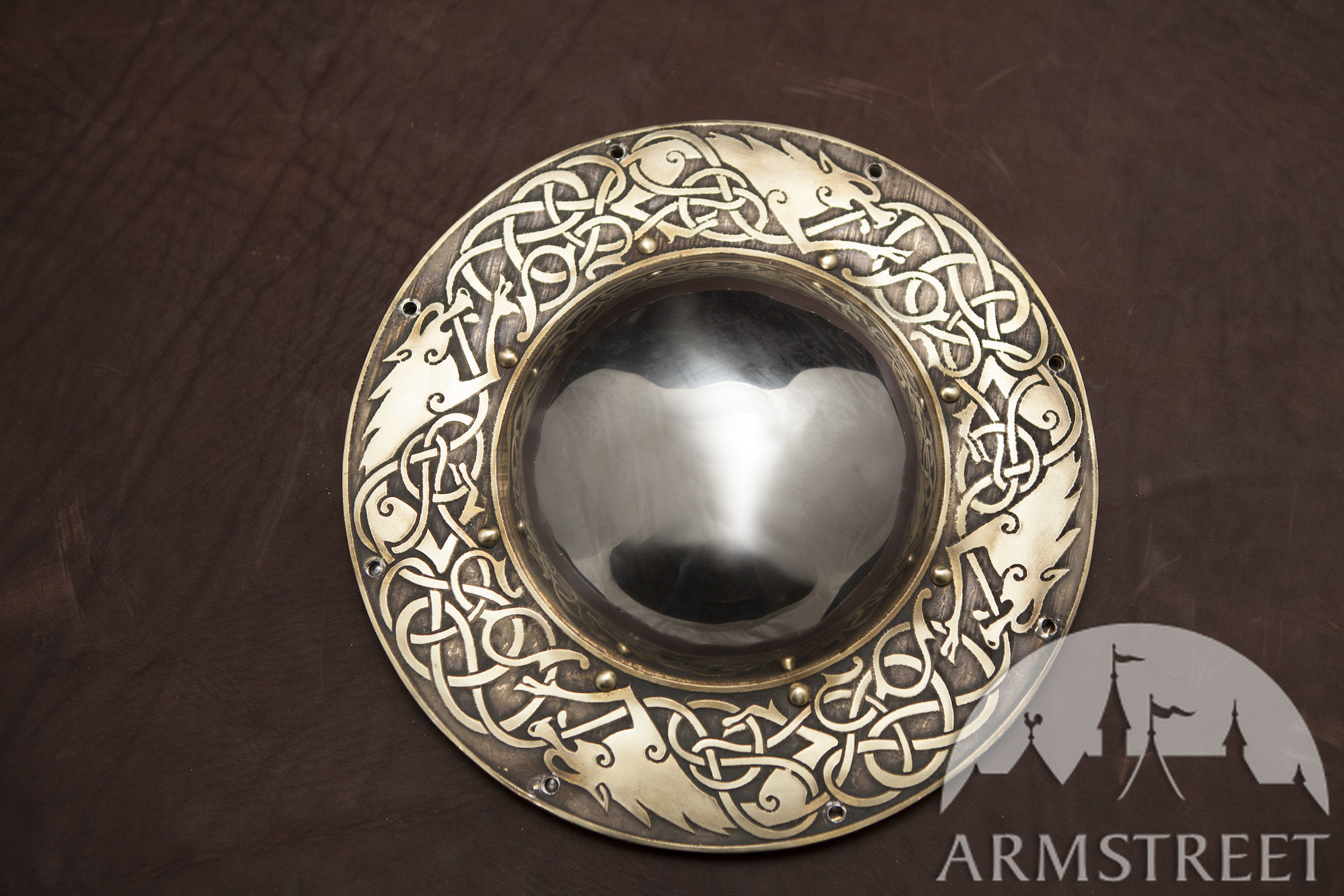 viking shield boss �wolves� available in brass