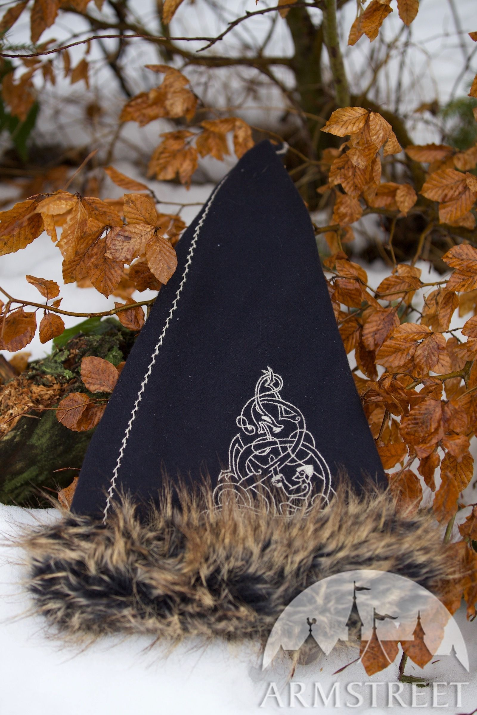 Viking Winter Hat Faux Fur Available In Red Wool