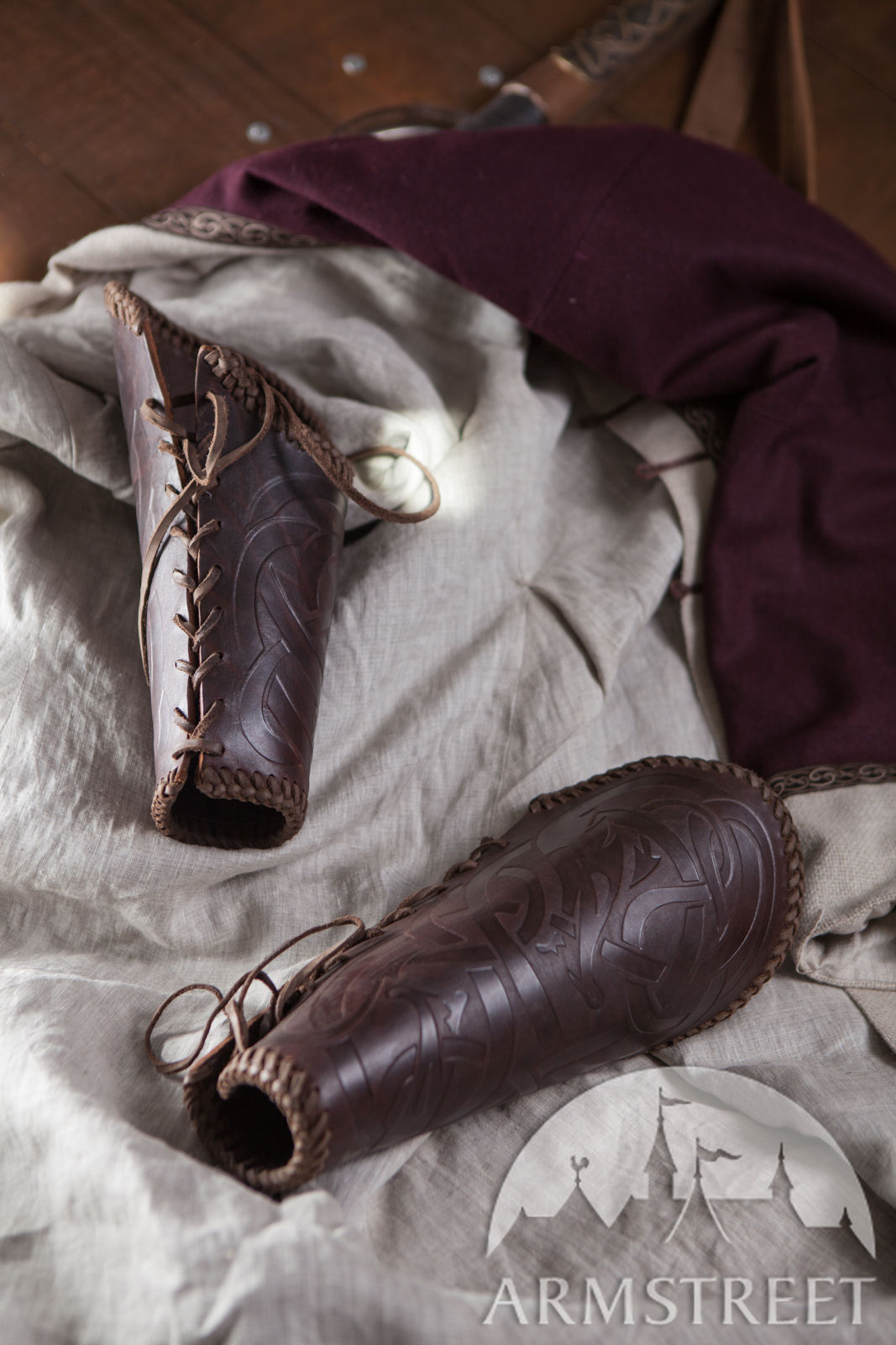 Viking Leather Vambraces Available In Brown Leather