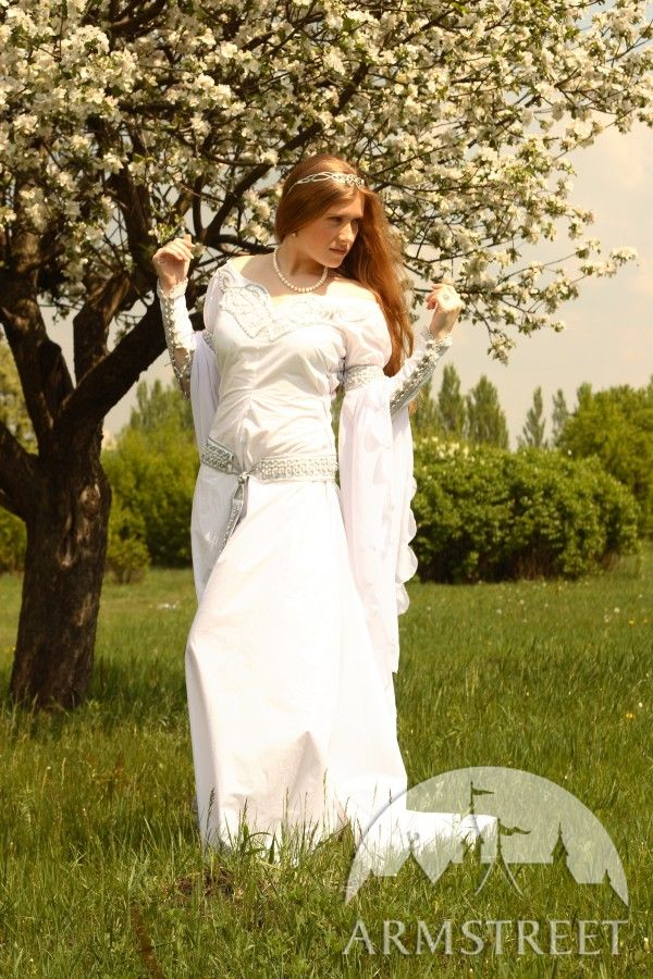 Renaissance Wedding Attire on Exclusive White Medieval Wedding Dress With Handmade Celtic Style