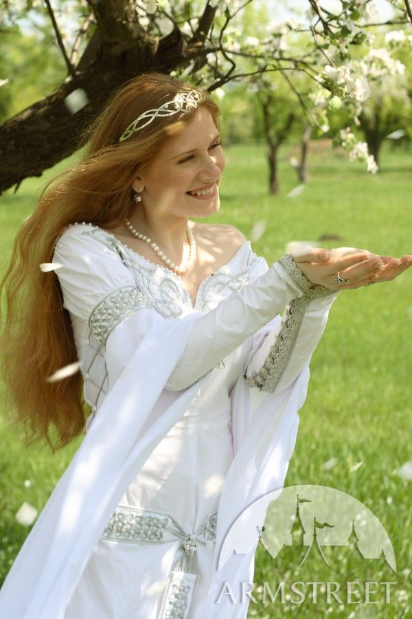 Exclusive white medieval wedding dress with handmade for Medieval inspired wedding dresses