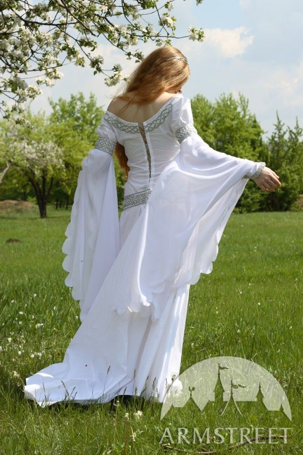 f101e20ba49 Exclusive white medieval wedding dress with handmade Celtic style  embroidery for sale. Available in  white cotton