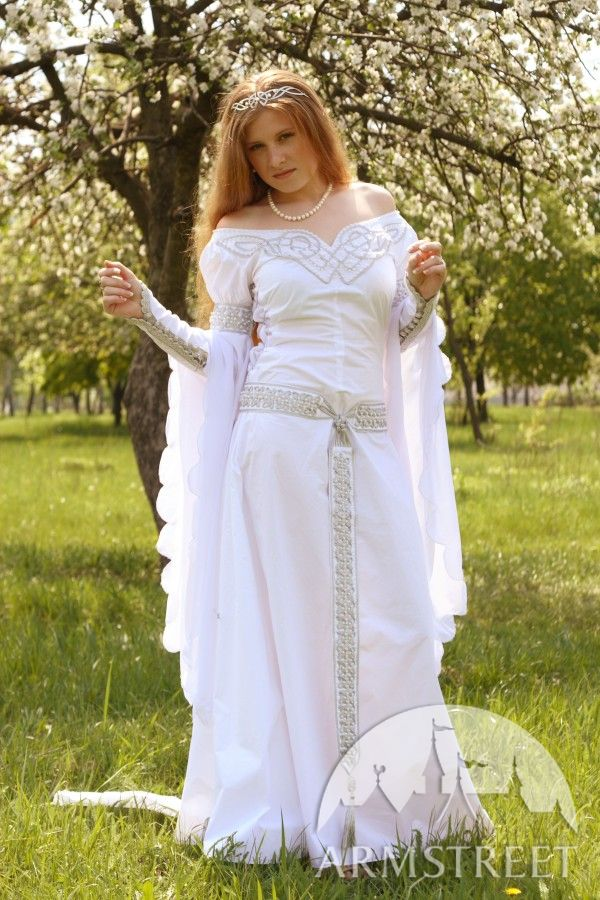 Exclusive white medieval wedding dress with handmade for Medieval style wedding dress