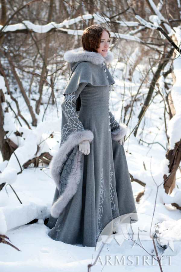 Exclusive fantasy fashion design coat Heretrix of the Winter for sale. Available in: ivory wool