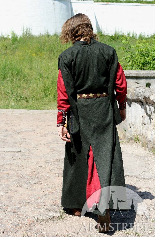 Classic Long Medieval Woolen Coat With Hood Typical For