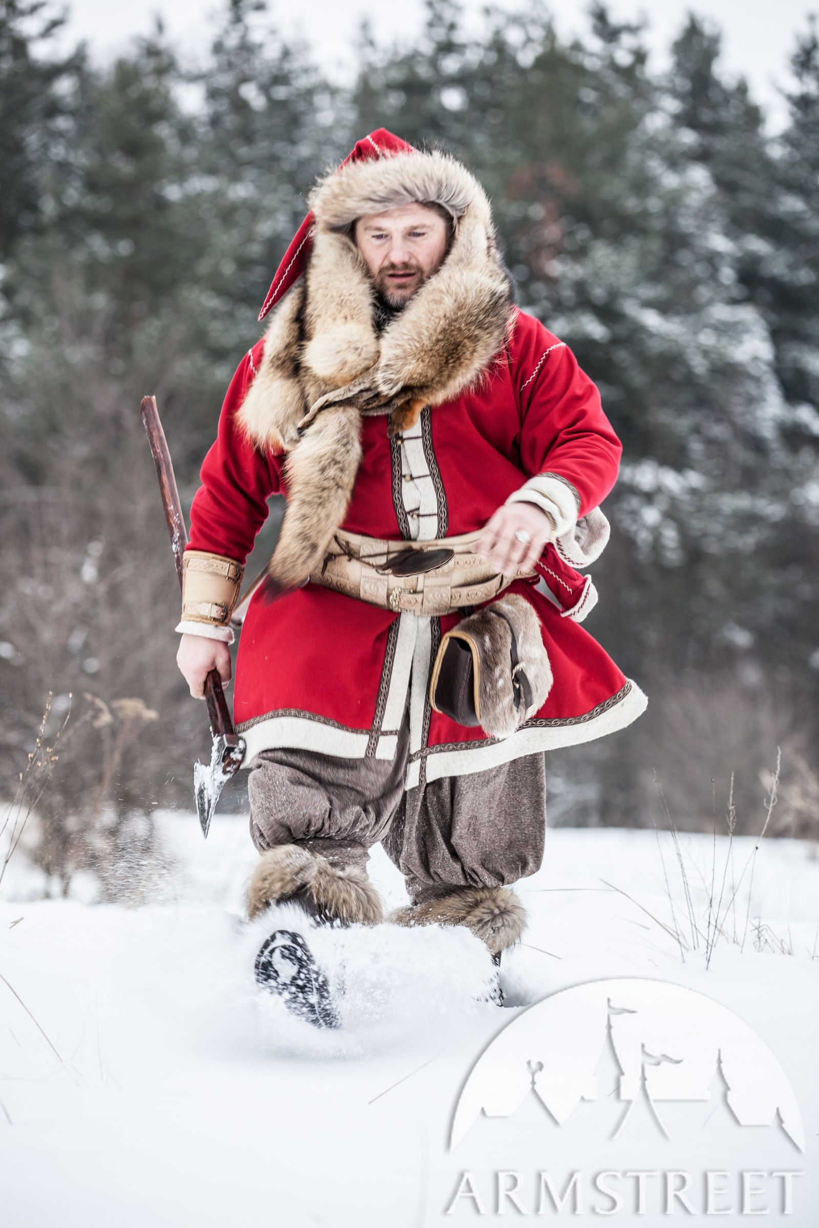 Woolen Viking Coat Yule Edition Available In Red Wool