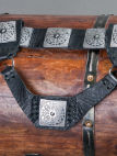 Medieval leather etching belt, bag, frog set