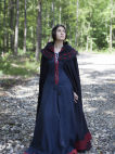 "Woolen  Medieval Fantasy Cloak ""Forget Me Not"" with Hood"