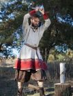 White and Red Linen Viking Tunic